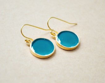 Round Bezel Setting Drop Earrings - Enamel Gold Filled Jewelry