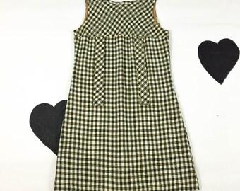 60's olive green mod knit dress 1960's houndstooth plaid sleeveless sheath dress / school girl / preppy / mini / sweater dress / size M