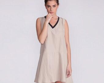 Short Ivory dress, v neck dress, day dress, sundress, mini dress, sleeveless, short dress, v neckline, loose fit dress,