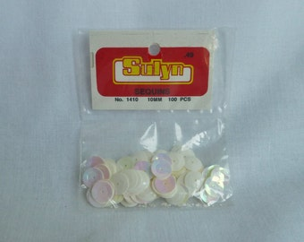 Vintage Bag of White Iris Sequins - 10mm White Sequin - Approximately 100 Pieces per Bag - Plastic - Vintage Supply