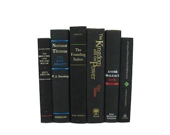 Vintage  Black Books , Black Old Books , Black Vintage Book Set , Rustic decor, Vintage Home Decor, Black Book Collection