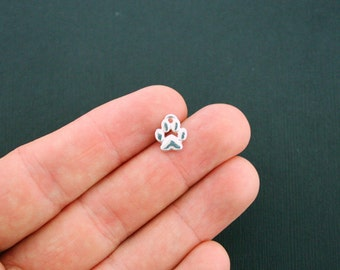 4 Paw Print Charms Silver Plated Too Cute - SC5890