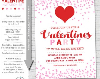 Valentines Party Invitation | Valentine Party Invitation Printable | Valentine Birthday | Valentines Invite | Amanda's Parties To Go