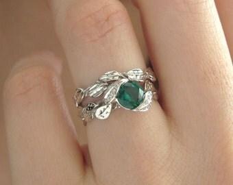 Leaf Wedding Set, Leaf Engagement Ring Set, Emerald Leaves Ring Set, Leaf Ring Set, Leaf Wedding Rings, Emerald Engagement set, Bridal set