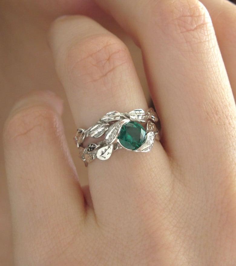 leaf wedding set leaf engagement ring set emerald leaves