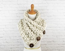 Blanket Scarf Knit Button Scarf Chunky Knitted Wrap Warmer Snood // The Kenduskeag