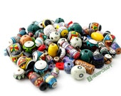 Painted Ceramic Beads, Geometric Designs, Assorted Shapes and Colors
