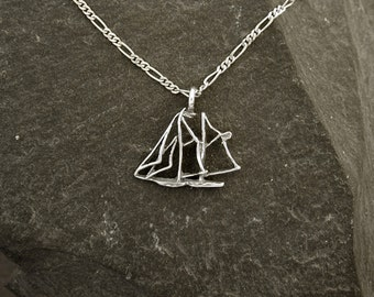 Sterling Silver Scooner Sailboat Pendant on a Sterling Silver Chain