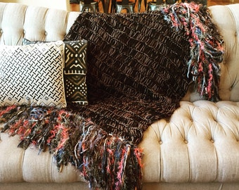 Afghan Throw Blanket. Brown Dark Brown, Gold, Black, Coral Salmon, Grey Home Decor Accessories Lap Warmer