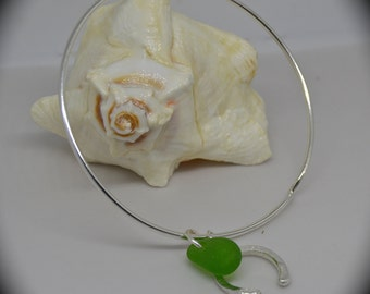 SEA GLASS Horseshoe Bangle Bracelet ARGENTIUM Sterling Silver Jewelry Kelly Green Luck