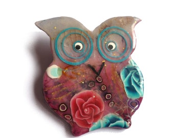 Animal brooch Owl brooch - Broche chouette hibou  - owl collectables - wearable art polymer clay - owl collectibles  Purple pink Turquoise