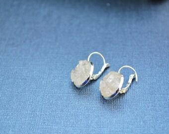 Quartz Crystal Earrings, Quartz Dangle Earrings, Quartz Jewelry