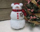 "White Plush Snowman, Small 6 1/2"" Fuzzy Snowman, Red Rustic Snowman, Snowman Doll, Christmas Decor, Rustic Decor, Snowmen SnowNoseCrafts"