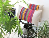 Boho pillow cover: bohemian pillow in colorful stripes, ethnic style pillow