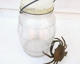 Vintage Pickle Jar, Glass Display Jar, General Store Canister, Large Jar with Metal Lid