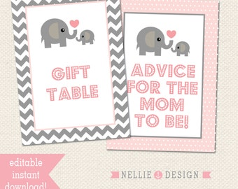 5x7 EDITABLE SIGNS - Elephant Theme Baby Shower - Instant Download