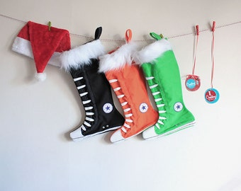 Personalized Christmas Stockings set of 3-Family Stockings, Green, Black, Orange