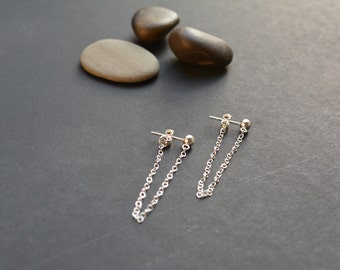 Sterling silver chain earrings, dangle silver ear jacket, double sided post earrings, front and back long drop earrings minimalist simple