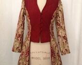 Gold & Burgundy Brocade Edwardian Jacket
