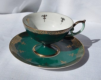 Lippy and Mann Royal Halsey Emerald Green Fine China Cup and Saucer