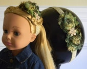 """Doll & Me Headband Set Green and Gold Floral Print Flower w/ Pearl Flower Center Girl and 18"""" Doll Accessory Christmas Holiday Birthday Gift"""