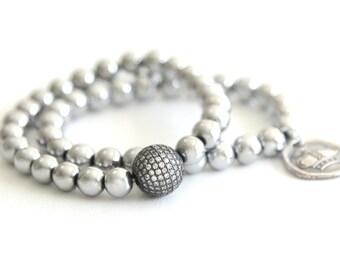 CZ Pave Bracelet Stretch Bracelet Stacking Beaded Bracelet Stackable Bracelets Cubic Zirconia Hematite Beach Boho Bohemian Jewelry Bracelet