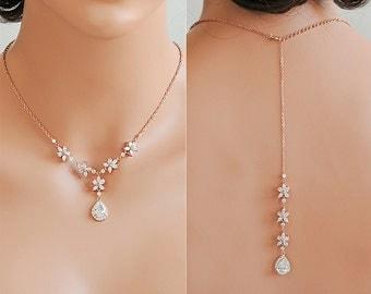 Rose Gold Wedding Necklace, Back Drop Bridal Necklace, Crystal Flower Cubic Zirconia Backdrop Necklace, Silver Bridal Wedding Jewelry, BRISA