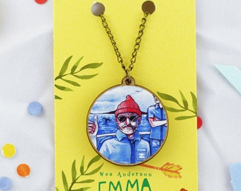 """The Life Aquatic with Steve Zissou, Wes Anderson- Do you think it remembers me? - 20"""" Bronze / Wooden Necklace."""