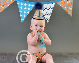 Boys First Birthday Party Outfit Or Cake Smash Set in Smart Foxes on Orange