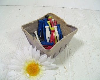Vintage Set of 21 Colorful Kordite Plastic Clothes Pins & Berry Basket - Retro Farm House Fresh Finds for Laundry Room or Crafting Projects