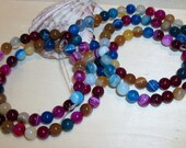 Mixed Bright Color striped Agate - 6 mm  round beads- full strand