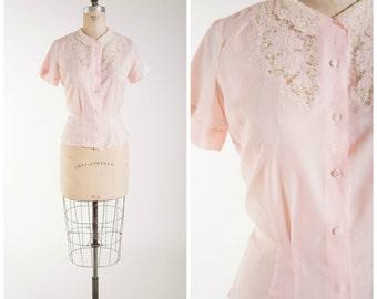 Vintage 1950s Blouse • Blushing Endearment • Sheer Pastel Pink 50s Vintage Shirt Size Small
