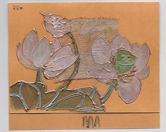 Pearly pink lotus flower III - light pink lotus on yellow - handmade blank greeting card for any event - art card, asia, Japanese style OOAK