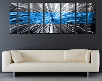 "Large Metal Wall Art Panels Modern Silver Metal Wall Art Work Painting Aluminum Sculpture Contemporary Home Decor ""Cosmic Energy, Blue"""