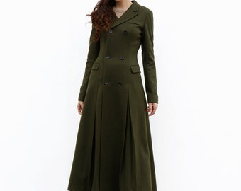 Army Green Maxi Coat / Military Wool Coat / Double Breasted Jacket / Military Jacket / Winter Coat - Custom Made - NC642