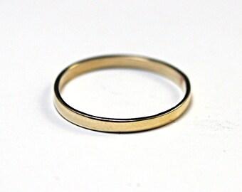Women's Thin Brass Band--Ultra Thin Band--2mm wide Flat Edge Brass  Band--Modern Wedding Ring  Brass ring brass stacking brass ring