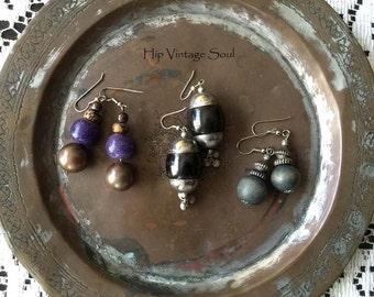 SALE TEN DOLLAR, Vintage 80's Bohemian Earrings, Set of 3, Bohemian, Hippie, Gypsy