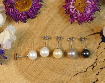 Hypoallergenic Shell Pearl Stud Earrings, Color Choice, Wedding Pearl Studs for Bridesmaid