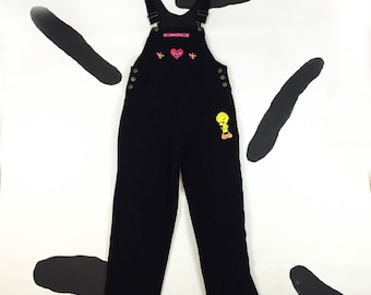 90s Black Velour Tweety Bird Overalls / Flocked / Patches / Grunge / Looney Tunes / Hearts / Daisies / Applique / Jumper / Small /