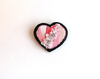 Embroidered heart brooch with pinks and rose quartz crystals on black cotton twill with black felt back Valentines day gifts heart jewelry