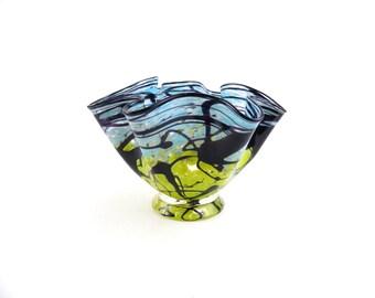 Blue Blown Glass Bowl
