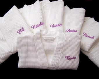Set of 7 Personalized Robes Monogrammed Bathrobes Bridesmaids Gifts