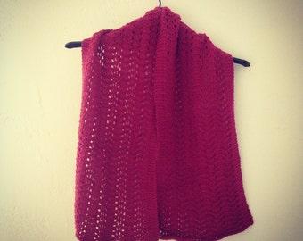 Raspberry Scallop Knitted Merino Scarf