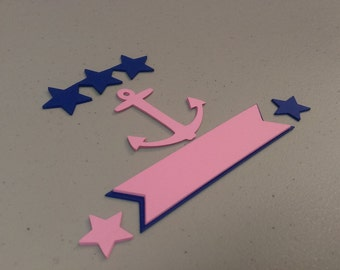 Nautical Anchor and Star Die Cuts, Anchor and Star Cutouts With Tags