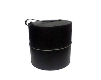 Vintage Wig Box Case - Vintage Round Hat Box, Black Faux Alligator Hat Case, Retro Mod Wig Carrier, Mid Century Modern Black Travel Tote