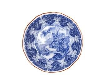 Vintage Mokusen Pottery Japanese Bowl Porcelain Bowl Cobalt Blue and White Asian Serving Bowl Tea Bowl Rice Bowl Soup Bowl