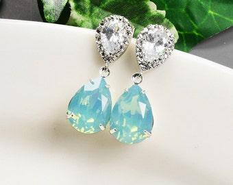 Mint Earrings - Swarovski Crystal Earrings - Mint Green Earrings Silver - Bridesmaid Earrings - Wedding Jewelry - Bridal Jewelry