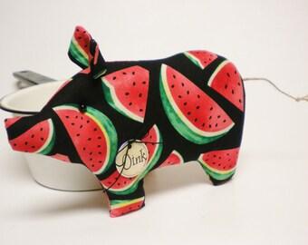 Watermelon Pig - Made To Order, Fabric Pigs, Primitive Americana Decor