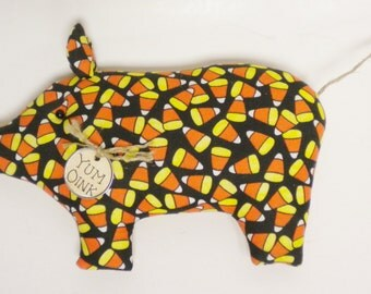 Candy Corn Pig - Made To Order, Primitive Pigs, Halloween Decor, Pig Ornaments, Country Farmhouse Decor