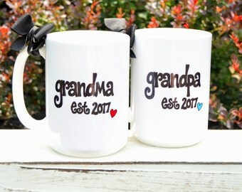 New GRANDMA or GRANDPA Mugs, Est. Year, Cute Pregnancy Announcement